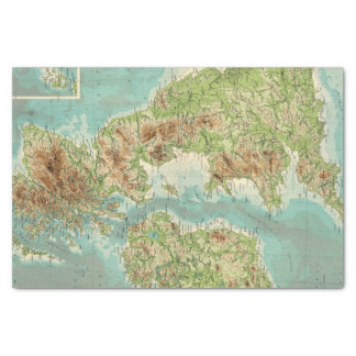 British Isles bathyorographical map Tissue Paper