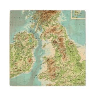 British Isles bathyorographical map Wood Coaster
