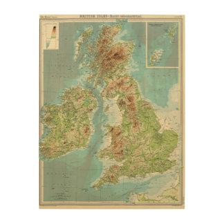 British Isles bathyorographical map Wood Wall Art