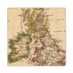 British Isles Map Maple Wood Coaster