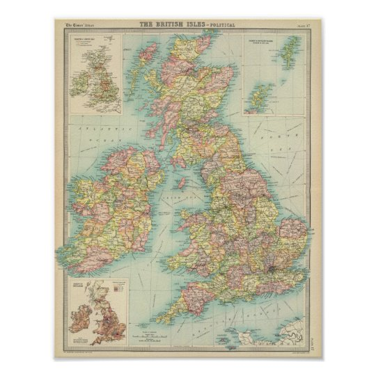 British Isles political map Poster