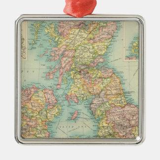 British Isles political map Silver-Colored Square Decoration