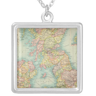 British Isles political map Silver Plated Necklace