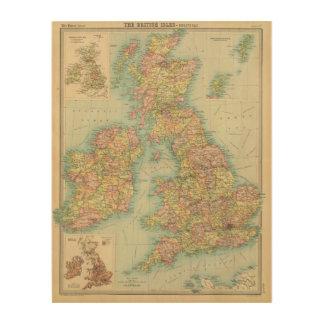British Isles political map Wood Wall Decor