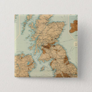 British Isles railways & industrial map 15 Cm Square Badge