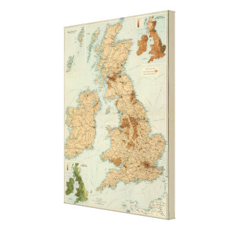 British Isles railways & industrial map Canvas Print