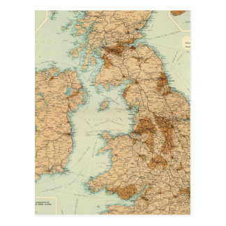 British Isles railways & industrial map Postcard