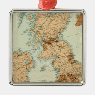 British Isles railways & industrial map Silver-Colored Square Decoration