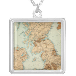 British Isles railways & industrial map Silver Plated Necklace