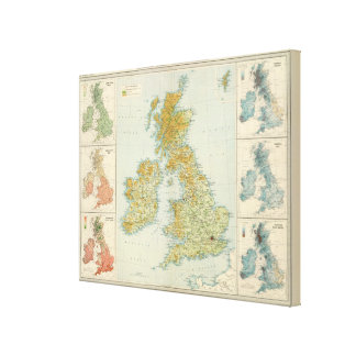 British Isles vegetation & climate map Canvas Print