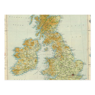 British Isles vegetation & climate map Postcard