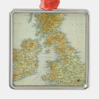 British Isles vegetation & climate map Silver-Colored Square Decoration