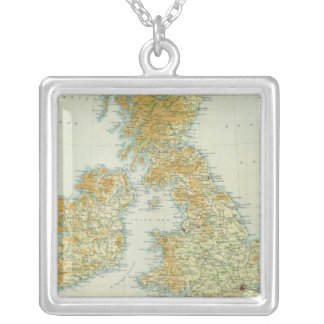 British Isles vegetation & climate map Silver Plated Necklace