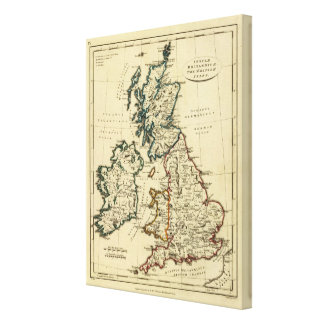 British Isles with boundaries outlined Canvas Print