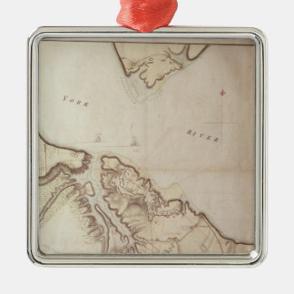 British map of the Siege of Yorktown, 1781 Christmas Ornament