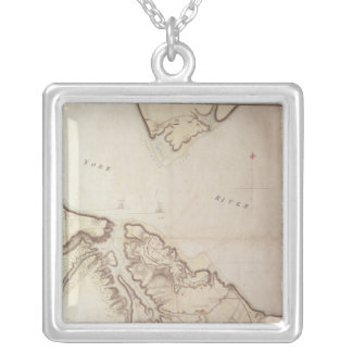 British map of the Siege of Yorktown, 1781 Silver Plated Necklace