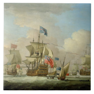 British Men-of-War and a Sloop, c.1720-30 (oil on Large Square Tile