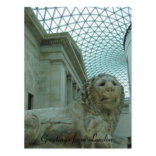 british museum lion postcard