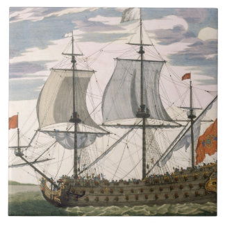 British Navy: a first-rate ship flying the White E Large Square Tile