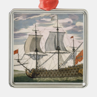 British Navy: a first-rate ship flying the White E Silver-Colored Square Decoration