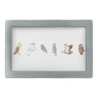 British owl species rectangular belt buckle