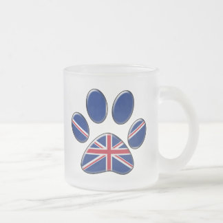 British patriotic cat frosted glass mug