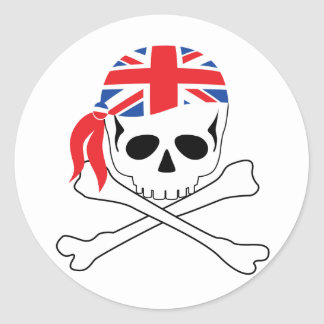 British Pirate Round Sticker