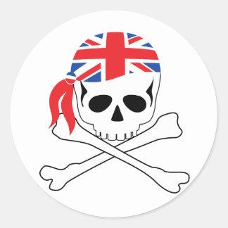 British Pirate Round Stickers
