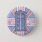 British Police Box and Union Jack Flag Illustrated 6 Cm Round Badge