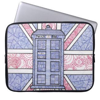 British Police Box and Union Jack Flag Illustrated Laptop Sleeve