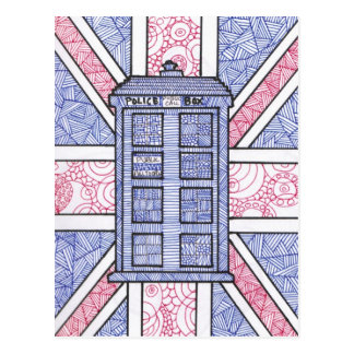 British Police Box and Union Jack Flag Illustrated Postcard