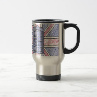 British Police Box and Union Jack Flag Illustrated Travel Mug