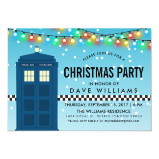 British Police Box Themed Surprise Party Card