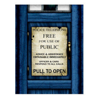 British Police Public Call Box Sign Art Postcard