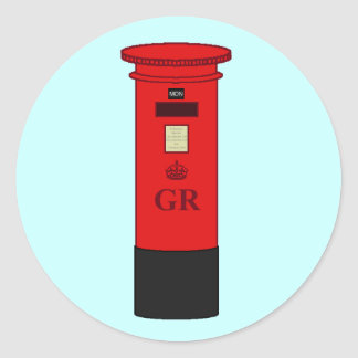 British Post Box Round Sticker