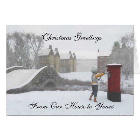 British Post Box Winter Village Christmas Card