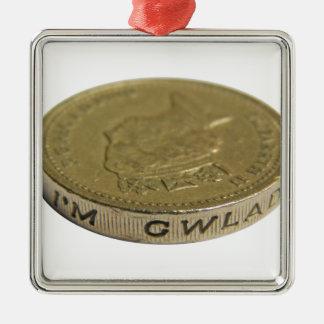 British Pound Coins Money Silver-Colored Square Decoration