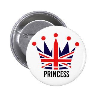 British Princess Crown 6 Cm Round Badge