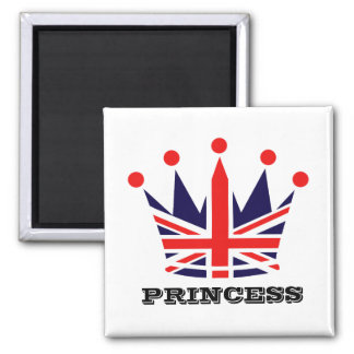 British Princess Crown Square Magnet
