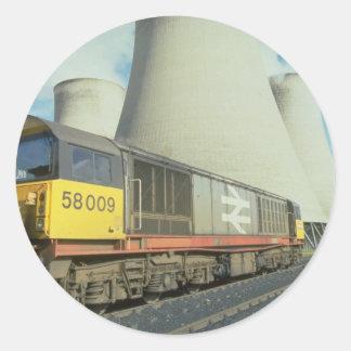 British Rail coal train at power station, U.K. Round Sticker