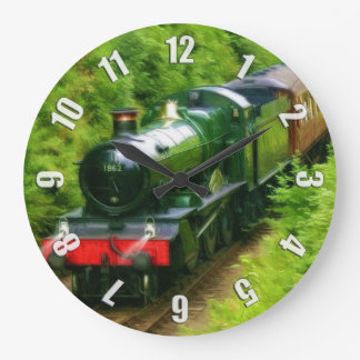 British Railway Steam Train Art V Large Clock