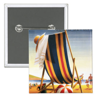 British Railways Beach Chair and Ball Poster 15 Cm Square Badge