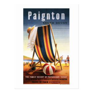 British Railways Beach Chair and Ball Poster Postcard