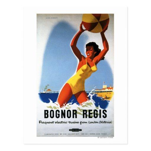 British Railways Girl and Beachball Poster Postcard