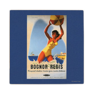 British Railways Girl and Beachball Poster Wood Coaster