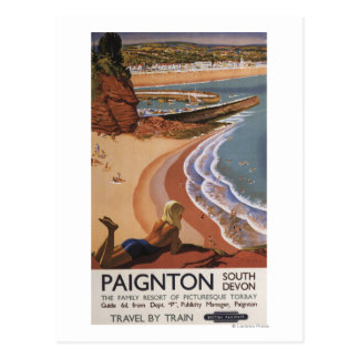 British Railways Girl Looking over a Cliff Postcard