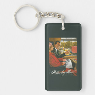 British Railways Relax by Rail Poster Double-Sided Rectangular Acrylic Key Ring