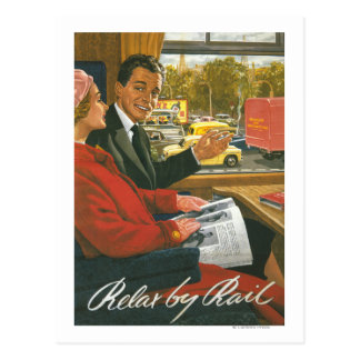 British Railways Relax by Rail Poster Postcard