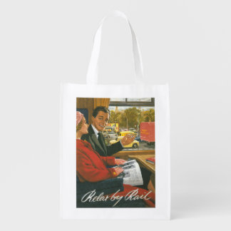 British Railways Relax by Rail Poster Reusable Grocery Bag