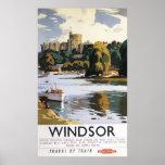 British Railways Windsor Castle Thames Poster